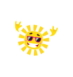 happy rock n roll sun character in sunglasses vector image