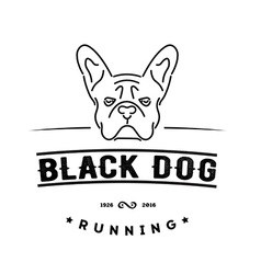Hipster logo with french bulldog Nanoline style vector