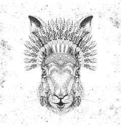 hipster rabbit with indian feather headdress vector image