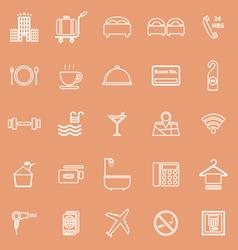 Hotel line icons on orange background vector
