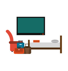 Hotel suite with bed and luggage vector