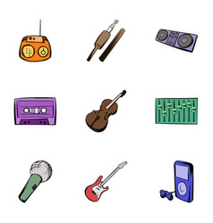 Instruments icons set cartoon style vector