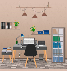 Interior office room including work space vector