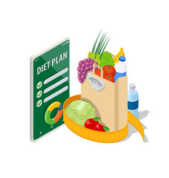 Isometric healthy food and diet planning on vector