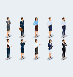 isometric set businesswomen vector image