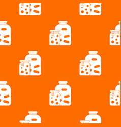 Jars with pickled vegetables and jam pattern vector