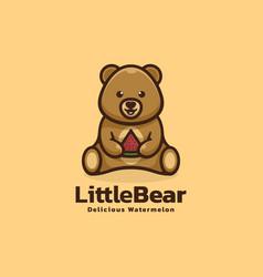 logo little bear simple mascot style vector image