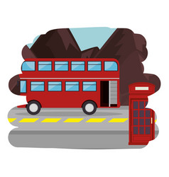 london street with bus scene vector image