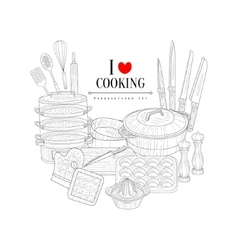Love for cooking hand drawn realistic sketch vector