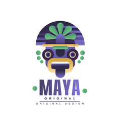 maya logo original design emblem with ethnic mask vector image