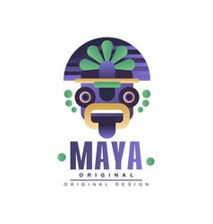Maya logo original design emblem with ethnic mask vector