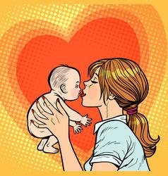 Mom kisses bawoman mother vector