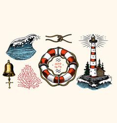 Nautical adventure set sea lighthouse marine vector