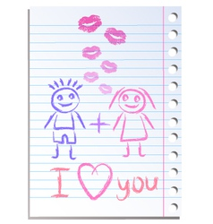 Notebook paper sheet with lips imprint vector image