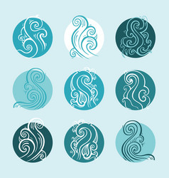Ocean waves set hand drawn vector