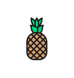 pineapple fruit flat color line icon vector image