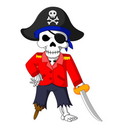 Pirate skeleton carrying sword vector