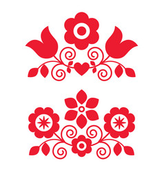 Polish traditional folk art design elements vector