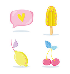 Punchy pastel fruits and popsicle vector