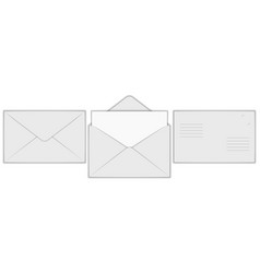 realistic mail envelopes blank mockup set open vector image