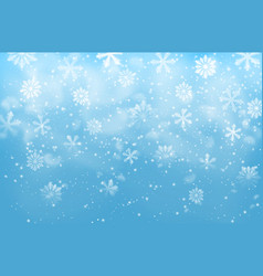 realistic snow flakes on blue background vector image