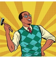 Retro man with a hammer for home repairs vector image
