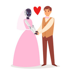 robot humanoid wedding marriage bride and groom vector image