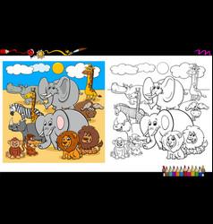 safari animal characters group coloring book vector image