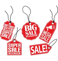 Sale red tag set vector image