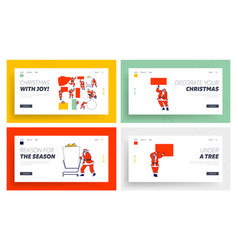 santa claus with mockup landing page template set vector image