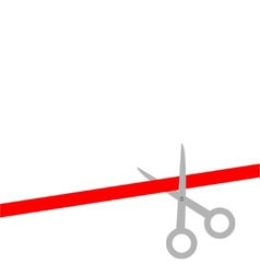 Scissors cut straight red ribbon on the right Flat vector image