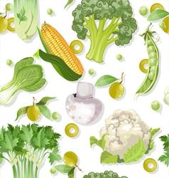 Seamless vegetarian vegetable green ornament vector image