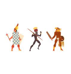 Set aboriginal or indigenous warriors african vector