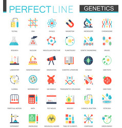 Set flat biochemistry genetics icons vector