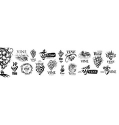 set hand drawn logos for wine vector image