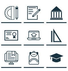 Set of 9 education icons includes paper e-study vector