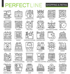 Shopping outline mini concept symbols e-commerce vector