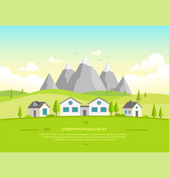 Small houses by the mountains - modern vector