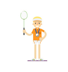 Smiling tennis player with racket vector