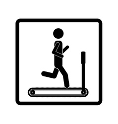 Square shape pictogram with man in treadmill vector
