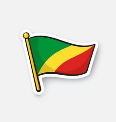 sticker national flag republic congo vector image