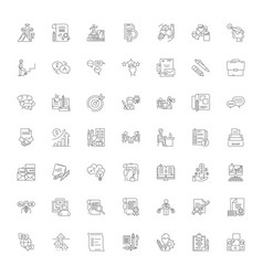 Student career linear icons signs symbols vector
