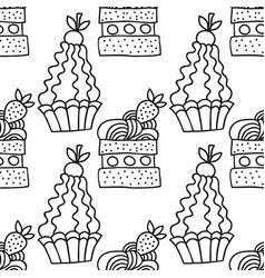 Sweet dessert black and white vector