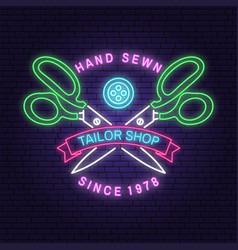 Tailor shop neon design or emblem vector