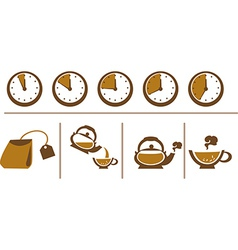 Tea brewing scheme cup time teapot and bags vector