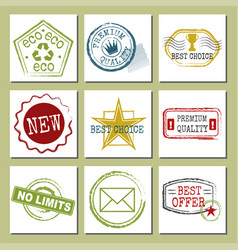 travel stamps fictitious international airport vector image