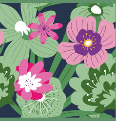 tropical blooming flowers and leaves pattern vector image
