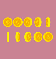 turkish lira coin rotating animation sprite sheet vector image