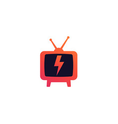 tv with antenna logo on white vector image