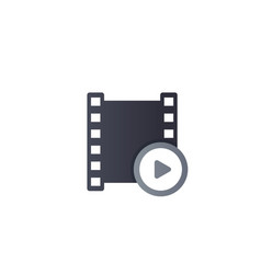 Video logo with play symbol and film strip vector